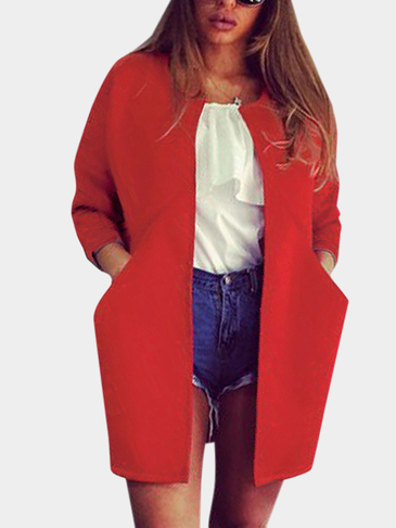 Fashion Plain Long Trench Coat in Red