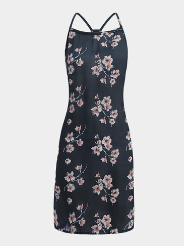 Random Floral Print Sleeveless Mini Dress