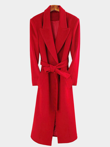 Fashion Red Longline Coat with Belt