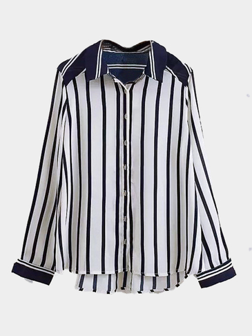 Blue Stripe Pattern Shirt With Mental Button
