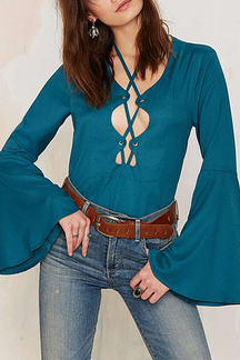 Lace-up Flared Sleeves Blouse in Turquoise