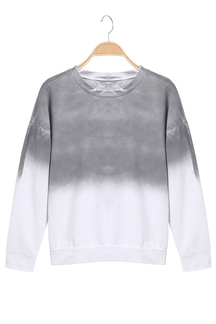 Grey Gradient Long Sleeves Round Neck Couples Sweatshirt