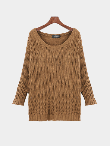 Khaki Casual Round Neck Knitted Jumper