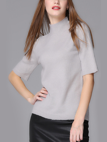 Grey Half Sleeves Knit Sweater
