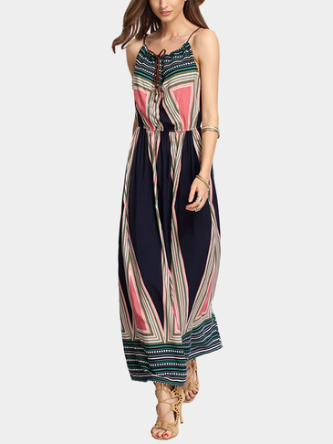 Vintage Sleeveless  Striped Print Maxi Dress