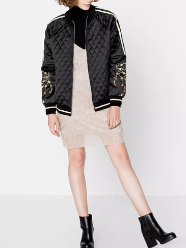 Black Diamond Quilted Embroidery Pattern Sleeves Bomber Jacket