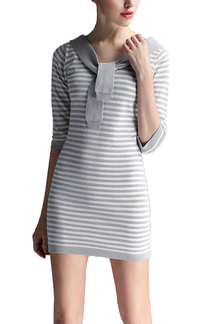 Light Grey Stripe Contrast Color Tie Front Mini Knitted Dress