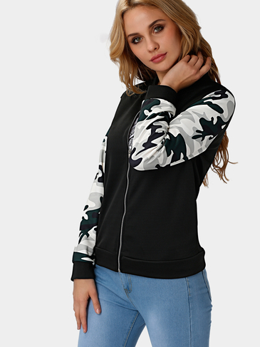 High Neck Bomber Jacket with Camouflage Sleeves