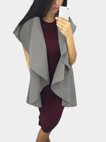 Grey Open Front Sleeveless Cape Coat