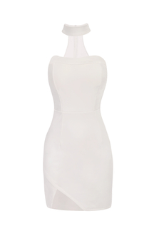 White Halter Bandeau Mini Dress with Cut Out V Shape