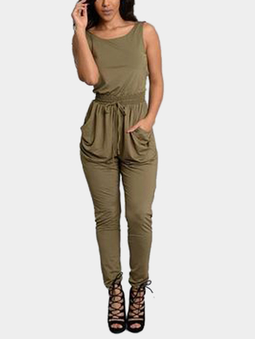 Army Green Sexy Sleeves Fitted Waistband Jumpsuit
