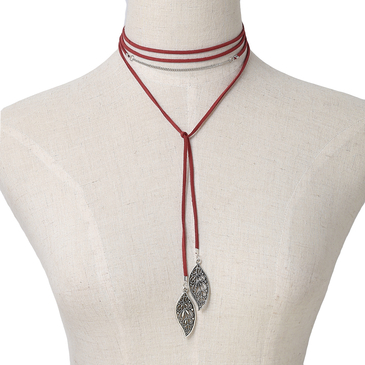Red Velvet Ribbon Hollow Leaves Pendant Long Necklace