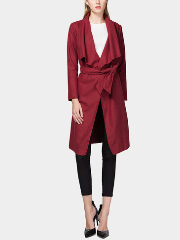 Burgundy Fashion Lapel collar Long Trench Coat with Belt