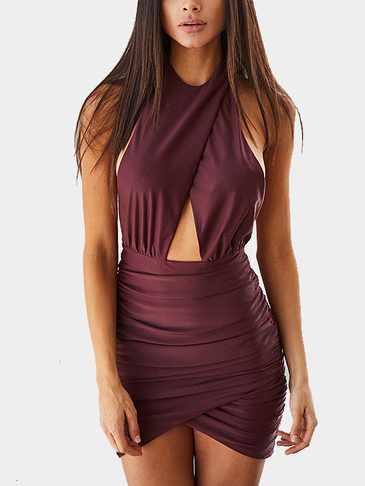 Open Back Halter Wrap Front Mini Dress