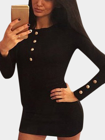 Black Long Sleeves Button Body-con Mini Dress