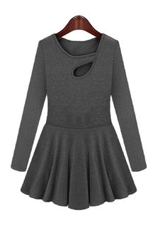 Plus Size Black Keyhole Neckline Dress