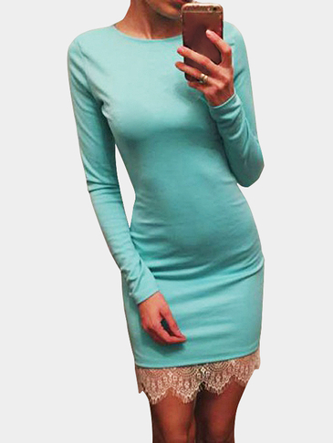 Teal Lace Splice Slim Fit Long Sleeve Dress