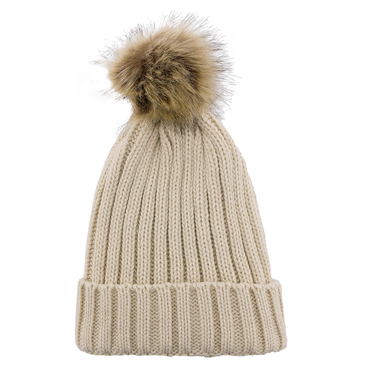 Beige Beanie Hat with Artificial Fur Pom