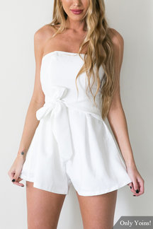 White Bra Sexy Self-tie Strapless Playsuit