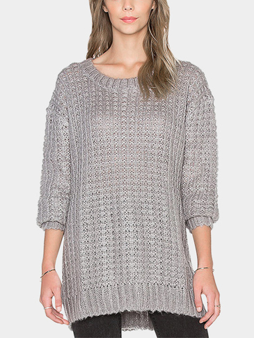Casual Loose Plain Color Pullover Jumper