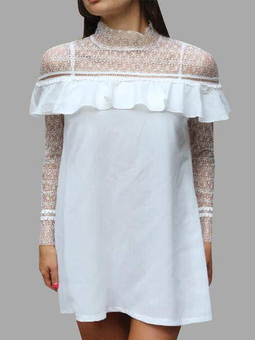 See-through Perkins Collar Lace Layered Dress