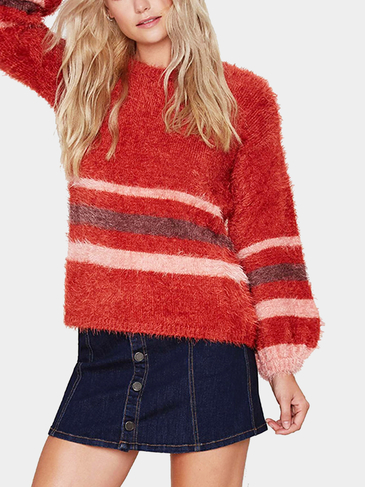 Red Stripe Lantern Sleeve Mohair Sweater