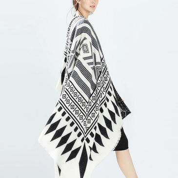 Black and White Cape Scarf with Rhombus Pattern