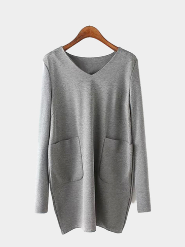 Gray V Neck Long Sleeve Dress with Pocket