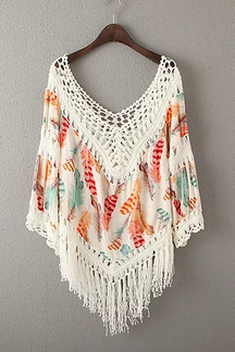 Orange Floral Print Hollow Out Fringed Poncho Top