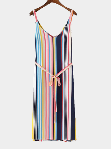 Multi Color Stripe Pattern V-neck Sleeveless Midi Dress with random Belt