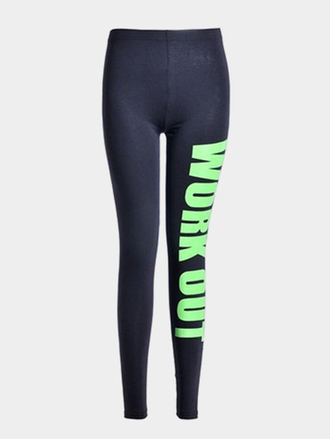 "Green ""WORK OUT"" Letter Pattern Leggings"