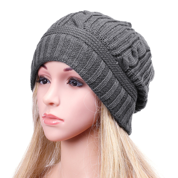 Dark Grey Casual Folded Design Knitted Hat