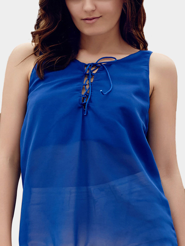 Chiffon See Through Sleeveless Hollow Out Keyhole Vest