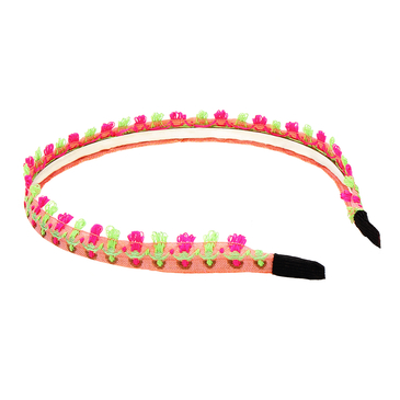 Ethnic Embroidered Headband in Pink