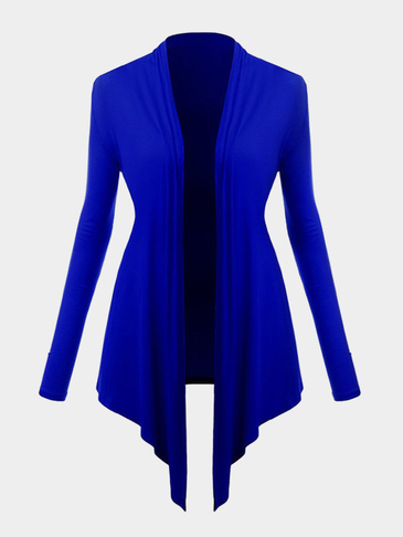 Navy Blue Long Sleeves Irregular Hem Cardigan