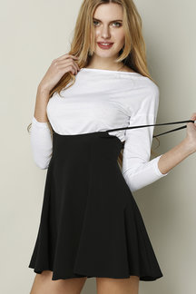 Black Skater Skirt With Flouncing Hem
