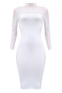 White Sexy See-through Long Sleeves Bodycon Dress