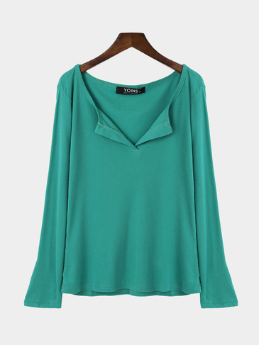 Amulet Green Plunge Casual Design Blouse with Long Sleeves