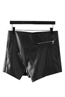 Asymmetric Zipped Leather-look Skort