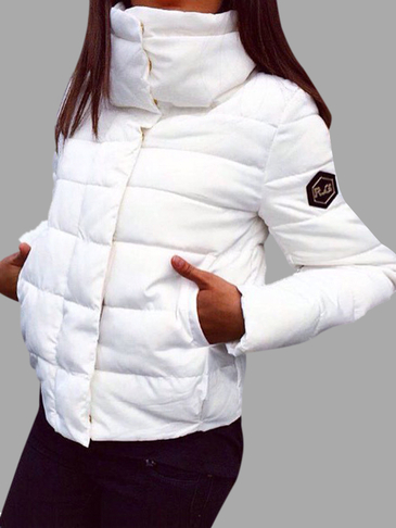 White Crew Neck Causal Padded Outerwear
