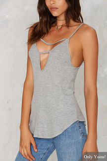 Gray Sexy Bodycon Cami with Cut Out Details