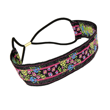 Pastoral Flower Embroidered Tape Headband in Black