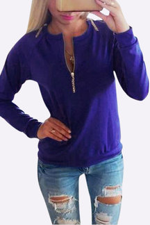 Blue Casual Zip Front Sweatshirt