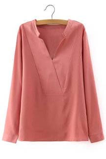 Pink Long Sleeves V-neck Shirt