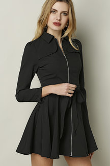 Fashion Black Long Sleeves Zip Front Mini Dress with Waist Tie Design