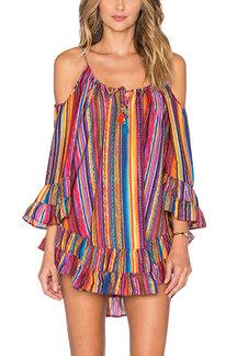 Multicolor Stripe Cold Shoulder Mini Dress
