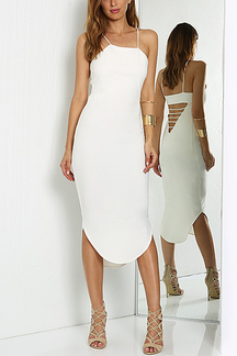 Back Hollow Out Cami Dress in White