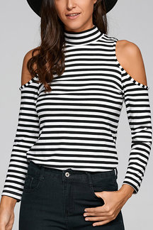Stripe Pattern High Neck Cold Shoulder T-shirts