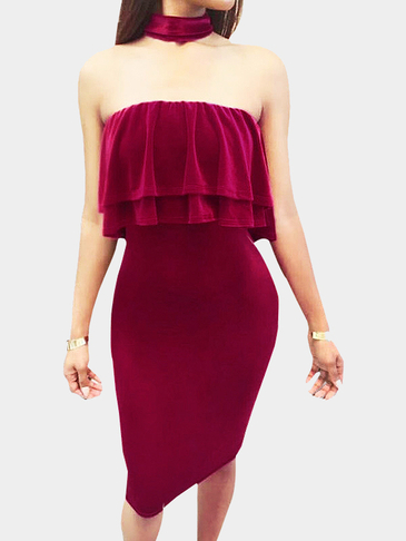 Burgundy Velvet Halter Design Flounced Tube Top Mini Dress