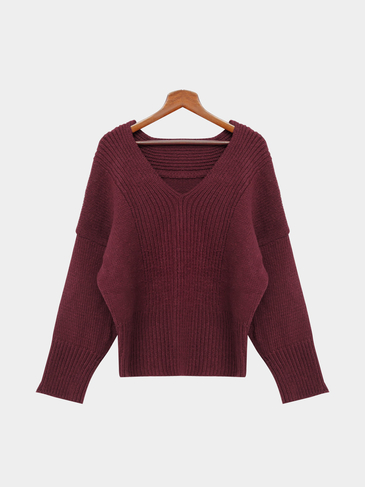 Burgundy V-neck Bat Sleeves Loose Jumper